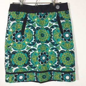 Ann Taylor Petites Mod Print Skirt Teal/Green 6P